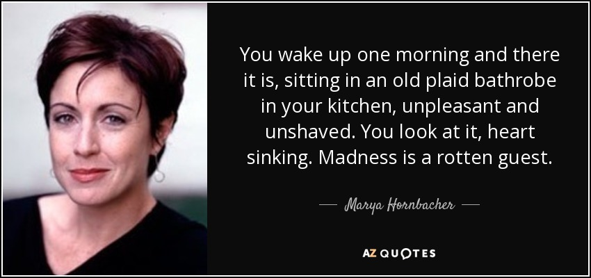 You wake up one morning and there it is, sitting in an old plaid bathrobe in your kitchen, unpleasant and unshaved. You look at it, heart sinking. Madness is a rotten guest. - Marya Hornbacher
