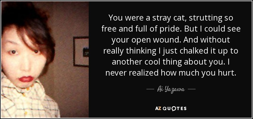 You were a stray cat, strutting so free and full of pride. But I could see your open wound. And without really thinking I just chalked it up to another cool thing about you. I never realized how much you hurt. - Ai Yazawa