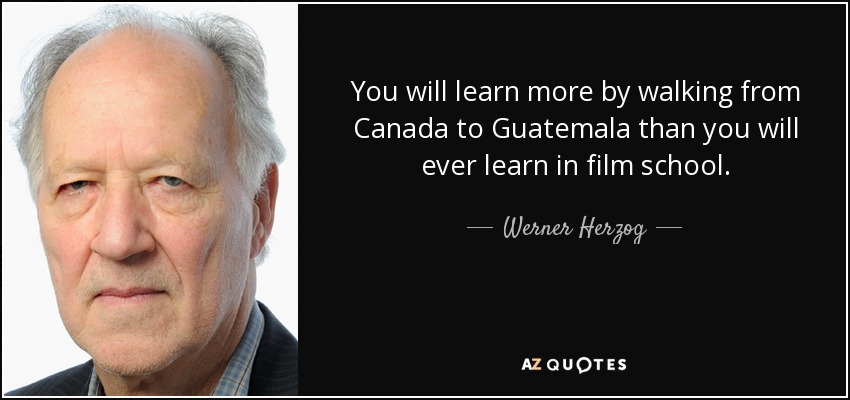 You will learn more by walking from Canada to Guatemala than you will ever learn in film school. - Werner Herzog