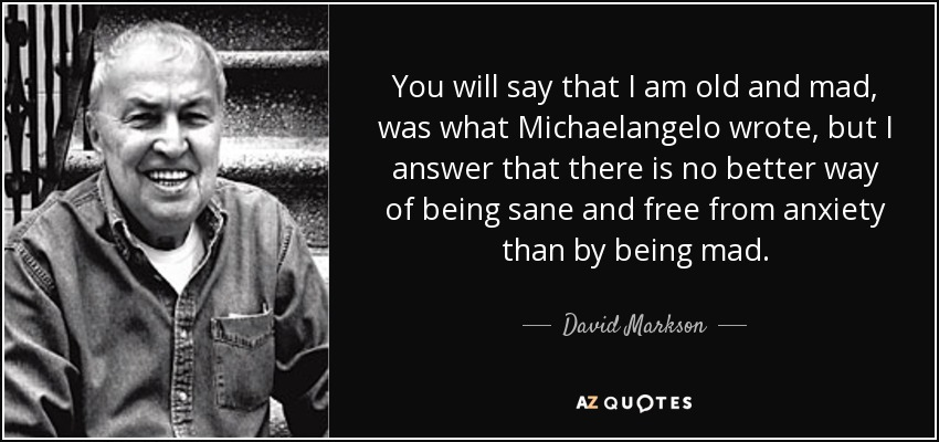 You will say that I am old and mad, was what Michaelangelo wrote, but I answer that there is no better way of being sane and free from anxiety than by being mad. - David Markson