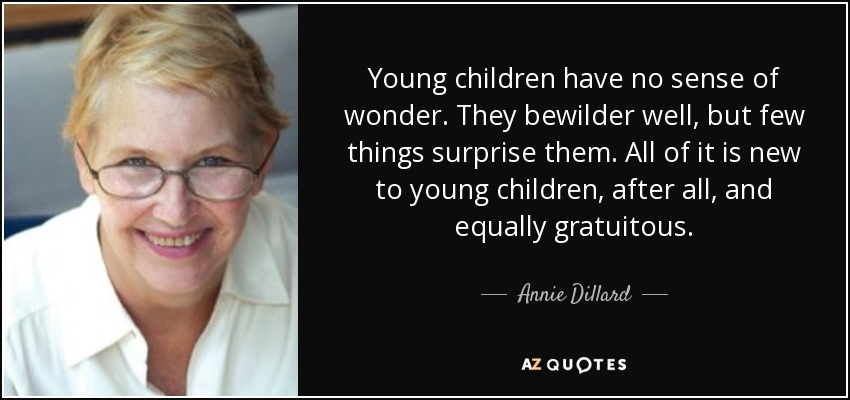 Young children have no sense of wonder. They bewilder well, but few things surprise them. All of it is new to young children, after all, and equally gratuitous. - Annie Dillard
