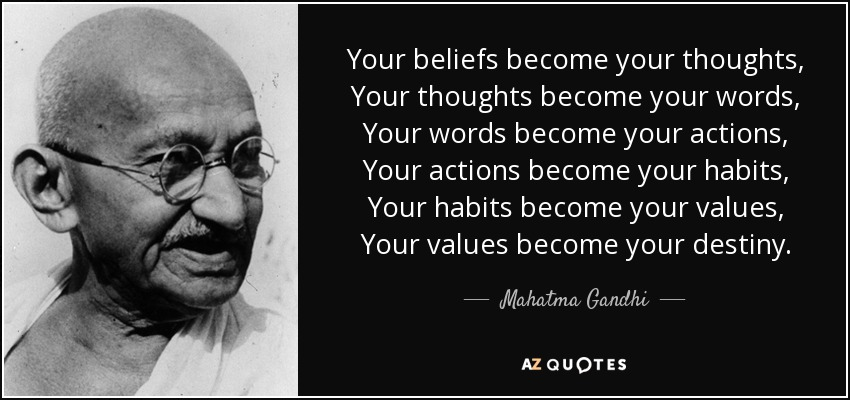 Your beliefs become your thoughts, Your thoughts become your words, Your words become your actions, Your actions become your habits, Your habits become your values, Your values become your destiny. - Mahatma Gandhi