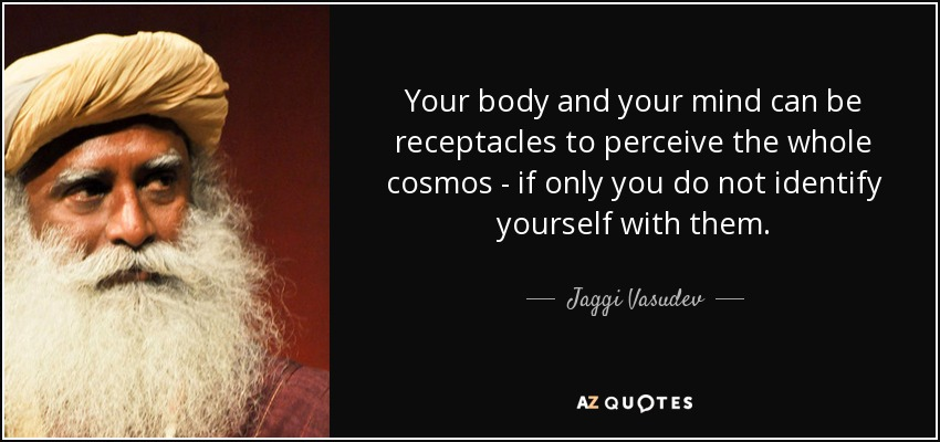 Your body and your mind can be receptacles to perceive the whole cosmos - if only you do not identify yourself with them. - Jaggi Vasudev