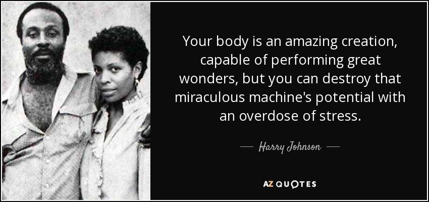 Your body is an amazing creation, capable of performing great wonders, but you can destroy that miraculous machine's potential with an overdose of stress. - Harry Johnson