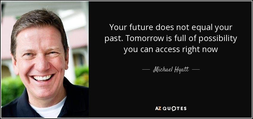 Your future does not equal your past. Tomorrow is full of possibility you can access right now - Michael Hyatt
