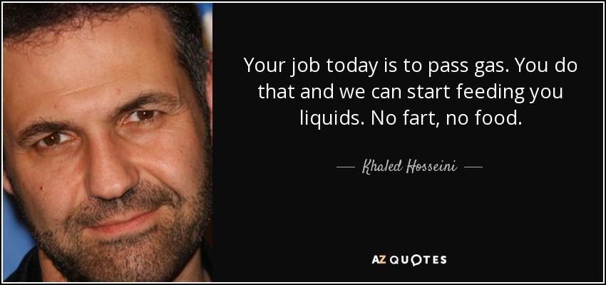 Your job today is to pass gas. You do that and we can start feeding you liquids. No fart, no food. - Khaled Hosseini