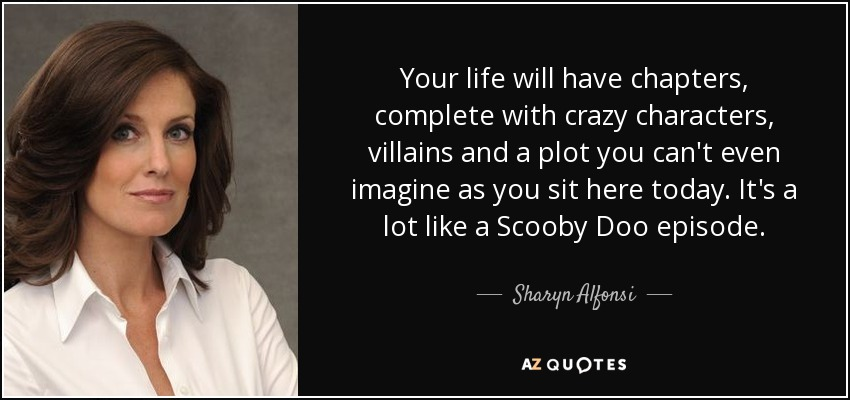 Your life will have chapters, complete with crazy characters, villains and a plot you can't even imagine as you sit here today. It's a lot like a Scooby Doo episode. - Sharyn Alfonsi