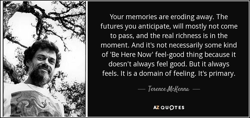 Your memories are eroding away. The futures you anticipate, will mostly not come to pass, and the real richness is in the moment. And it's not necessarily some kind of 'Be Here Now' feel-good thing because it doesn't always feel good. But it always feels. It is a domain of feeling. It's primary. - Terence McKenna