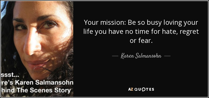Your mission: Be so busy loving your life you have no time for hate, regret or fear. - Karen Salmansohn