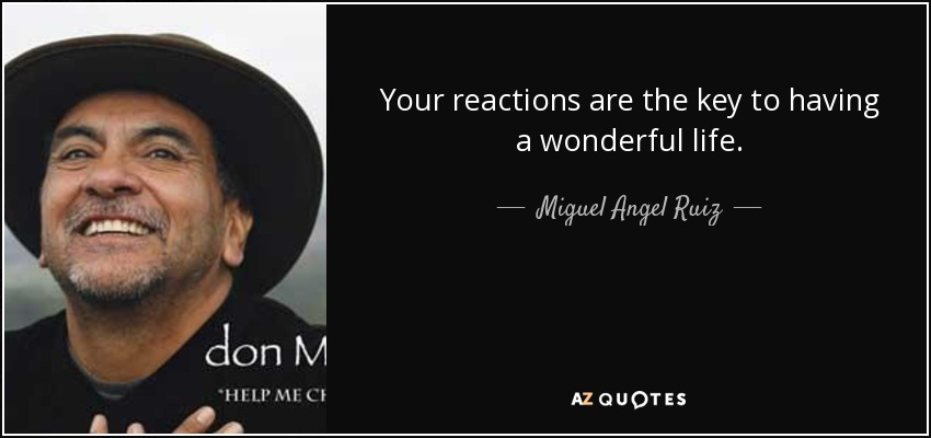 Your reactions are the key to having a wonderful life. - Miguel Angel Ruiz
