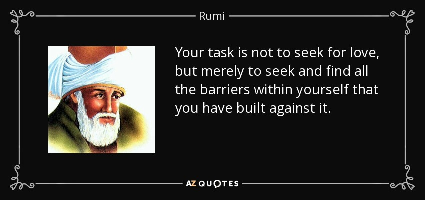 Your task is not to seek for love, but merely to seek and find all the barriers within yourself that you have built against it. - Rumi