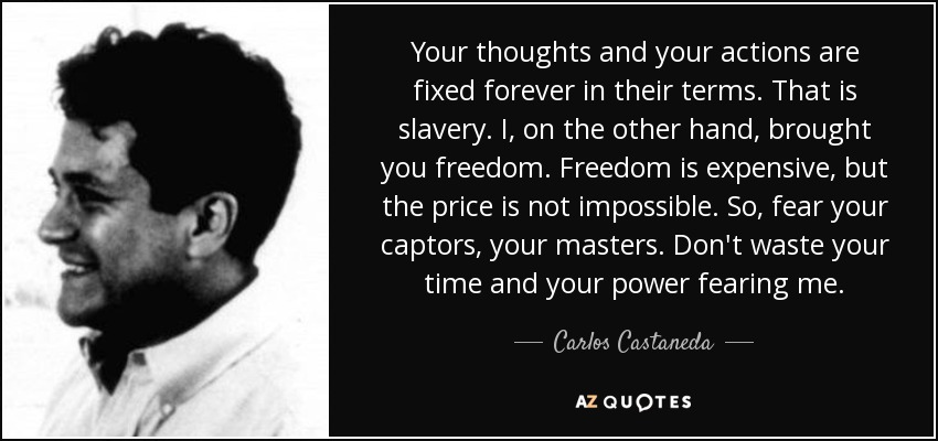 Your thoughts and your actions are fixed forever in their terms. That is slavery. I, on the other hand, brought you freedom. Freedom is expensive, but the price is not impossible. So, fear your captors, your masters. Don't waste your time and your power fearing me. - Carlos Castaneda