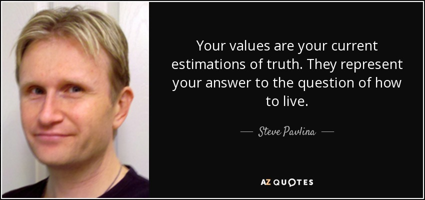 Your values are your current estimations of truth. They represent your answer to the question of how to live. - Steve Pavlina