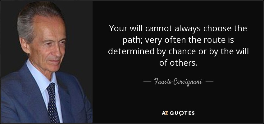 Your will cannot always choose the path; very often the route is determined by chance or by the will of others. - Fausto Cercignani