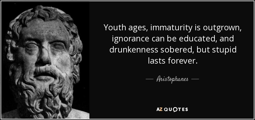 Youth ages, immaturity is outgrown, ignorance can be educated, and drunkenness sobered, but stupid lasts forever. - Aristophanes