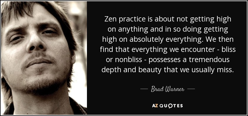 Zen practice is about not getting high on anything and in so doing getting high on absolutely everything. We then find that everything we encounter - bliss or nonbliss - possesses a tremendous depth and beauty that we usually miss. - Brad Warner