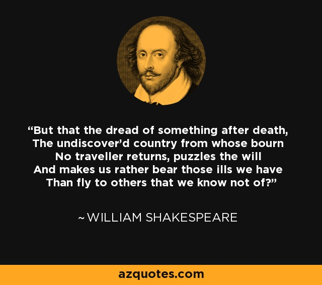 But that the dread of something after death, The undiscover'd country from whose bourn No traveller returns, puzzles the will And makes us rather bear those ills we have Than fly to others that we know not of? - William Shakespeare