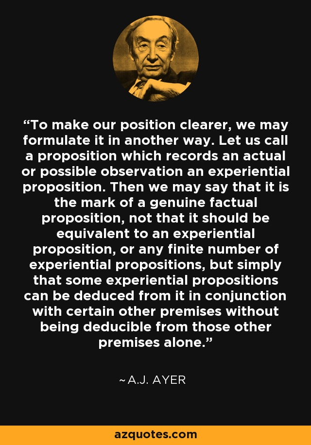 To make our position clearer, we may formulate it in another way. Let us call a proposition which records an actual or possible observation an experiential proposition. Then we may say that it is the mark of a genuine factual proposition, not that it should be equivalent to an experiential proposition, or any finite number of experiential propositions, but simply that some experiential propositions can be deduced from it in conjunction with certain other premises without being deducible from those other premises alone. - A.J. Ayer