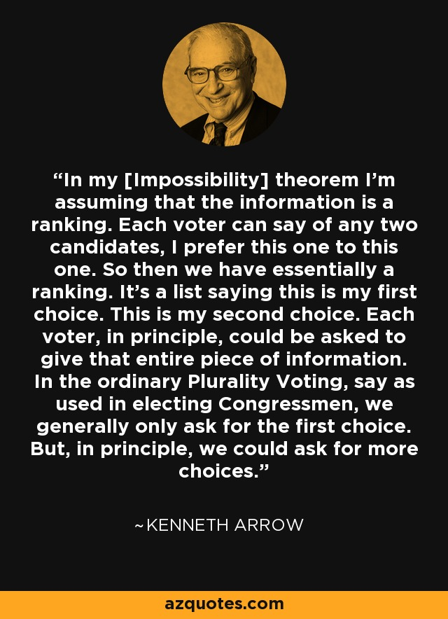 In my [Impossibility] theorem I'm assuming that the information is a ranking. Each voter can say of any two candidates, I prefer this one to this one. So then we have essentially a ranking. It's a list saying this is my first choice. This is my second choice. Each voter, in principle, could be asked to give that entire piece of information. In the ordinary Plurality Voting, say as used in electing Congressmen, we generally only ask for the first choice. But, in principle, we could ask for more choices. - Kenneth Arrow
