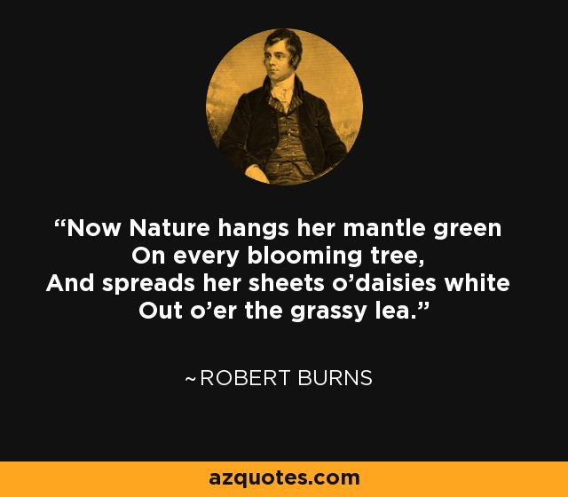 Now Nature hangs her mantle green On every blooming tree, And spreads her sheets o'daisies white Out o'er the grassy lea. - Robert Burns