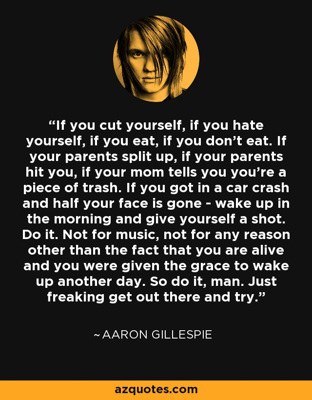 If you cut yourself, if you hate yourself, if you eat, if you don't eat. If your parents split up, if your parents hit you, if your mom tells you you're a piece of trash. If you got in a car crash and half your face is gone - wake up in the morning and give yourself a shot. Do it. Not for music, not for any reason other than the fact that you are alive and you were given the grace to wake up another day. So do it, man. Just freaking get out there and try. - Aaron Gillespie