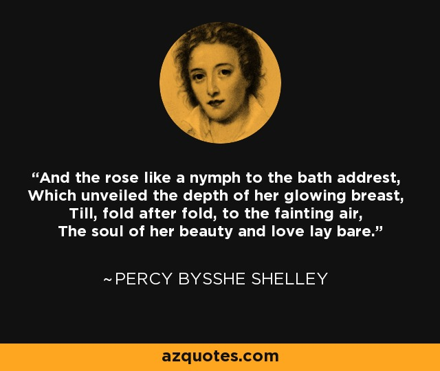 And the rose like a nymph to the bath addrest, Which unveiled the depth of her glowing breast, Till, fold after fold, to the fainting air, The soul of her beauty and love lay bare. - Percy Bysshe Shelley