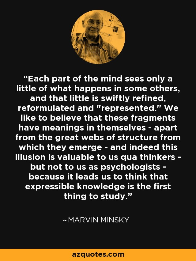 Each part of the mind sees only a little of what happens in some others, and that little is swiftly refined, reformulated and