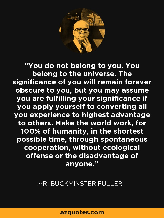 You do not belong to you. You belong to the universe. The significance of you will remain forever obscure to you, but you may assume you are fulfilling your significance if you apply yourself to converting all you experience to highest advantage to others. Make the world work, for 100% of humanity, in the shortest possible time, through spontaneous cooperation, without ecological offense or the disadvantage of anyone. - R. Buckminster Fuller