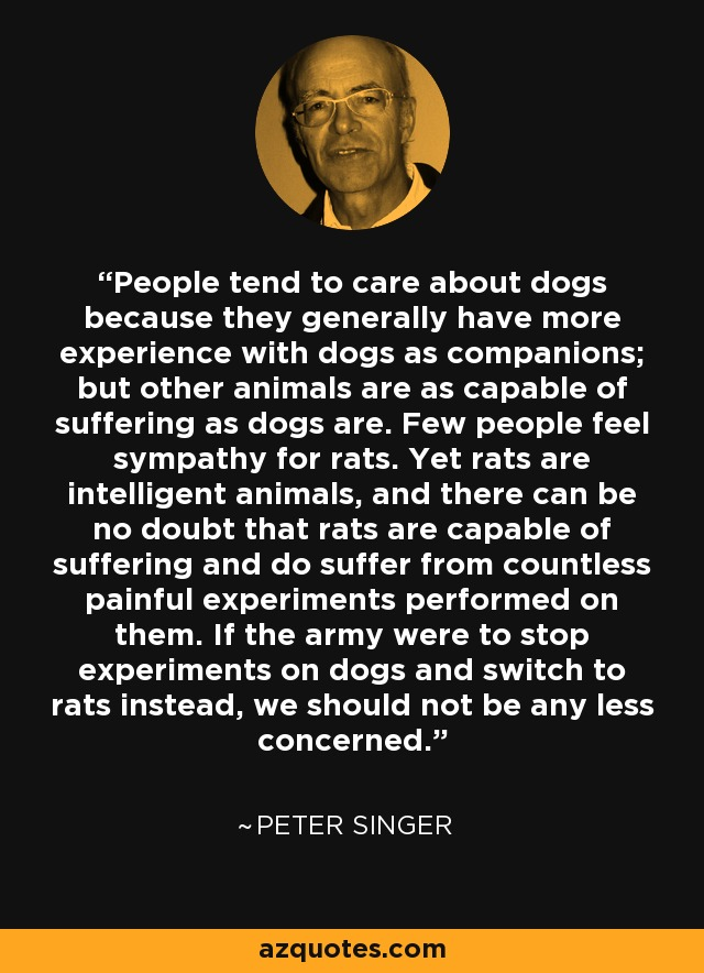 People tend to care about dogs because they generally have more experience with dogs as companions; but other animals are as capable of suffering as dogs are. Few people feel sympathy for rats. Yet rats are intelligent animals, and there can be no doubt that rats are capable of suffering and do suffer from countless painful experiments performed on them. If the army were to stop experiments on dogs and switch to rats instead, we should not be any less concerned. - Peter Singer