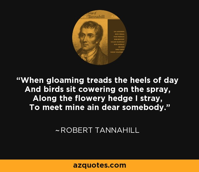 When gloaming treads the heels of day And birds sit cowering on the spray, Along the flowery hedge I stray, To meet mine ain dear somebody. - Robert Tannahill