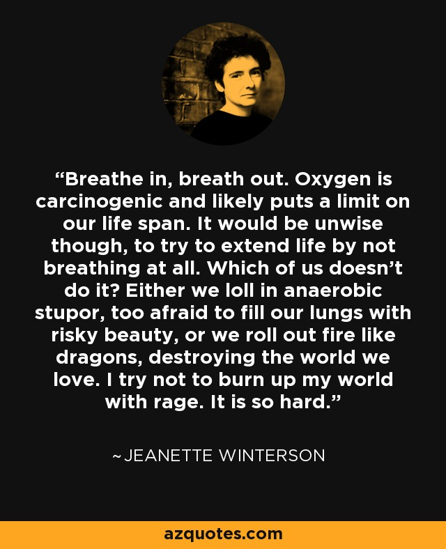 Breathe in, breath out. Oxygen is carcinogenic and likely puts a limit on our life span. It would be unwise though, to try to extend life by not breathing at all. Which of us doesn't do it? Either we loll in anaerobic stupor, too afraid to fill our lungs with risky beauty, or we roll out fire like dragons, destroying the world we love. I try not to burn up my world with rage. It is so hard. - Jeanette Winterson