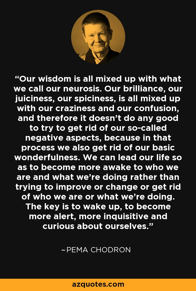 Our wisdom is all mixed up with what we call our neurosis. Our brilliance, our juiciness, our spiciness, is all mixed up with our craziness and our confusion, and therefore it doesn't do any good to try to get rid of our so-called negative aspects, because in that process we also get rid of our basic wonderfulness. We can lead our life so as to become more awake to who we are and what we're doing rather than trying to improve or change or get rid of who we are or what we're doing. The key is to wake up, to become more alert, more inquisitive and curious about ourselves. - Pema Chodron