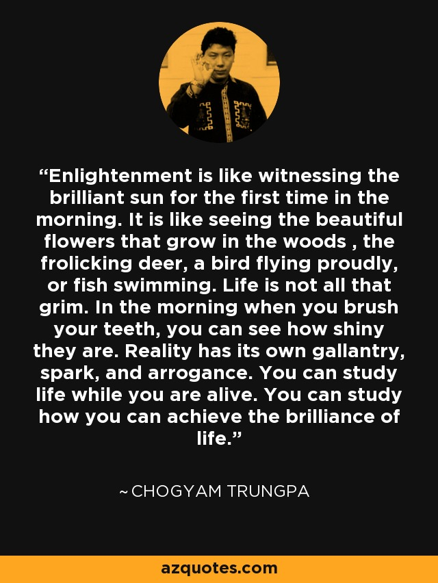 Enlightenment is like witnessing the brilliant sun for the first time in the morning. It is like seeing the beautiful flowers that grow in the wood, the frolicking deer, a bird flying proudly, or fish swimming. Life is not all that grim. In the morning you brush your teeth, you can see how shiny they are. Reality has its own gallantry, spark, and arrogance. You can study life while you are alive. You can study how you can achieve the brilliance of life. - Chogyam Trungpa