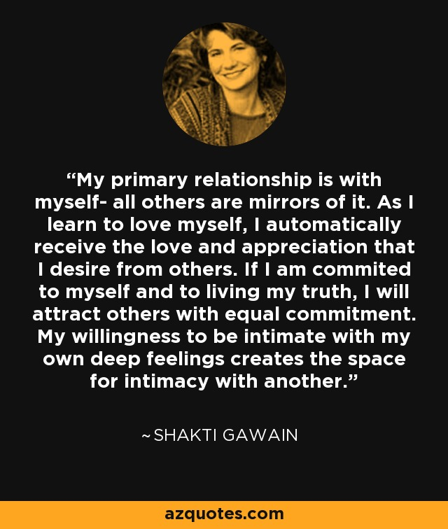 My primary relationship is with myself- all others are mirrors of it    In A Relationship With Myself Quotes