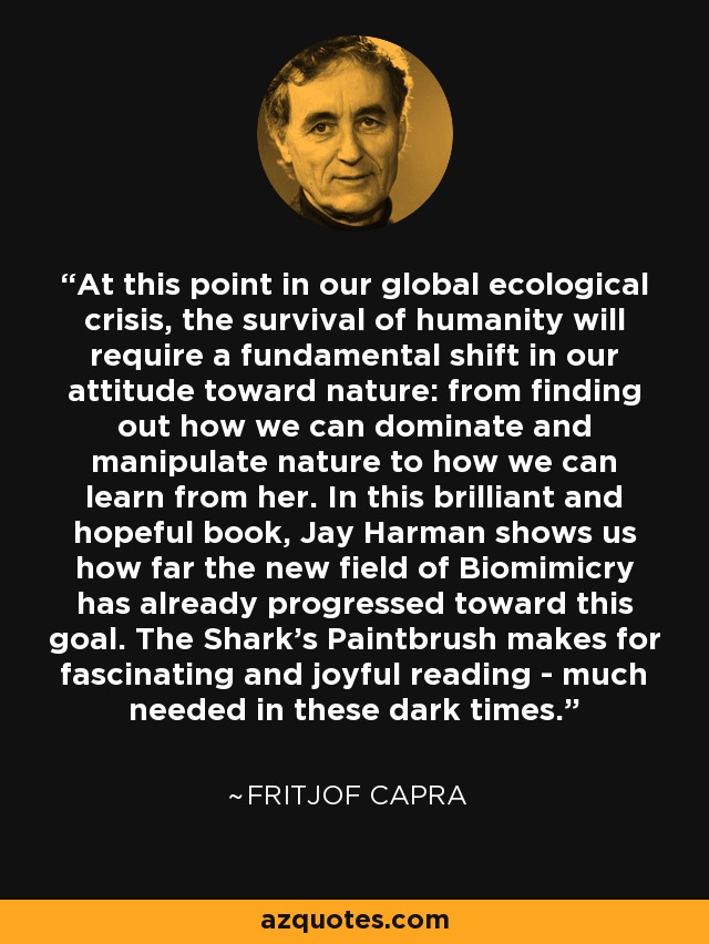 At this point in our global ecological crisis, the survival of humanity will require a fundamental shift in our attitude toward nature: from finding out how we can dominate and manipulate nature to how we can learn from her. In this brilliant and hopeful book, Jay Harman shows us how far the new field of Biomimicry has already progressed toward this goal. The Shark's Paintbrush makes for fascinating and joyful reading - much needed in these dark times. - Fritjof Capra