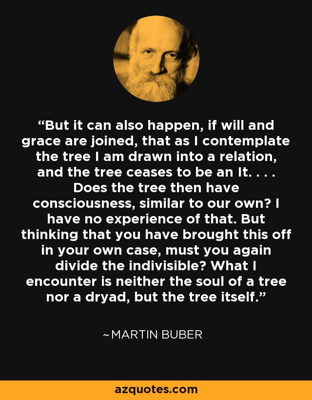 But it can also happen, if will and grace are joined, that as I contemplate the tree I am drawn into a relation, and the tree ceases to be an It. . . . Does the tree then have consciousness, similar to our own? I have no experience of that. But thinking that you have brought this off in your own case, must you again divide the indivisible? What I encounter is neither the soul of a tree nor a dryad, but the tree itself. - Martin Buber