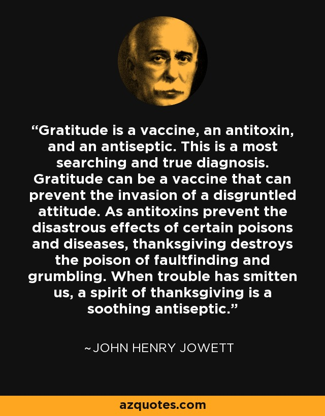 Gratitude is a vaccine, an antitoxin, and an antiseptic. This is a most searching and true diagnosis. Gratitude can be a vaccine that can prevent the invasion of a disgruntled attitude. As antitoxins prevent the disastrous effects of certain poisons and diseases, thanksgiving destroys the poison of faultfinding and grumbling. When trouble has smitten us, a spirit of thanksgiving is a soothing antiseptic. - John Henry Jowett