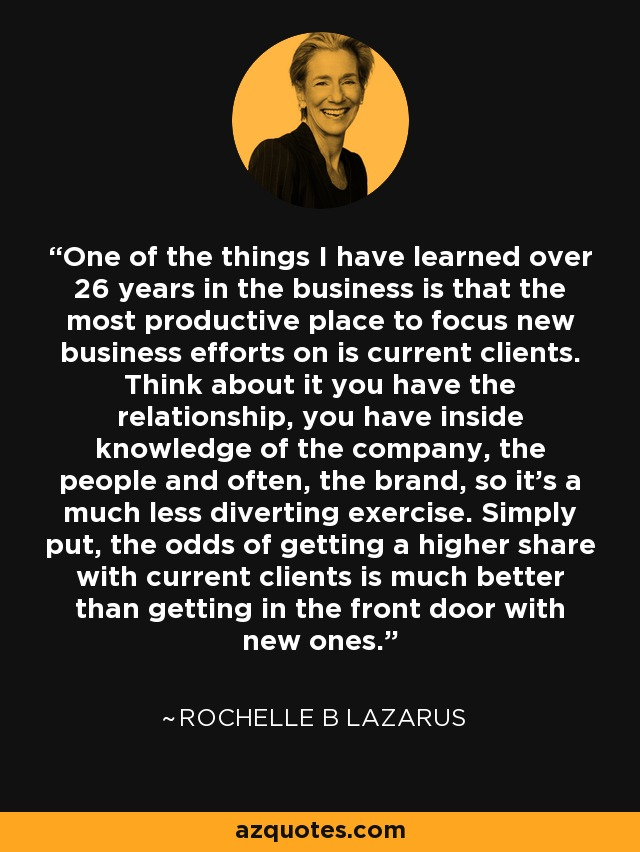 One of the things I have learned over 26 years in the business is that the most productive place to focus new business efforts on is current clients. Think about it you have the relationship, you have inside knowledge of the company, the people and often, the brand, so it's a much less diverting exercise. Simply put, the odds of getting a higher share with current clients is much better than getting in the front door with new ones. - Rochelle B Lazarus