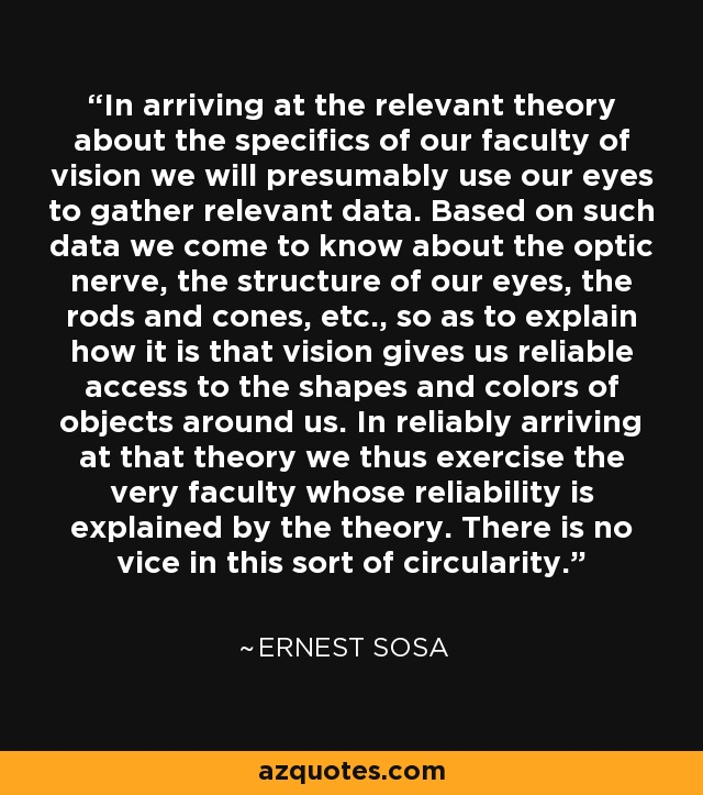 In arriving at the relevant theory about the specifics of our faculty of vision we will presumably use our eyes to gather relevant data. Based on such data we come to know about the optic nerve, the structure of our eyes, the rods and cones, etc., so as to explain how it is that vision gives us reliable access to the shapes and colors of objects around us. In reliably arriving at that theory we thus exercise the very faculty whose reliability is explained by the theory. There is no vice in this sort of circularity. - Ernest Sosa