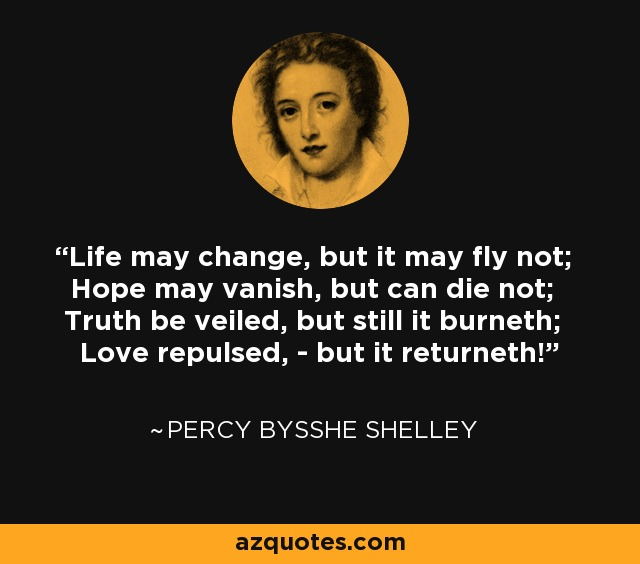 Life may change, but it may fly not; Hope may vanish, but can die not; Truth be veiled, but still it burneth; Love repulsed, - but it returneth! - Percy Bysshe Shelley