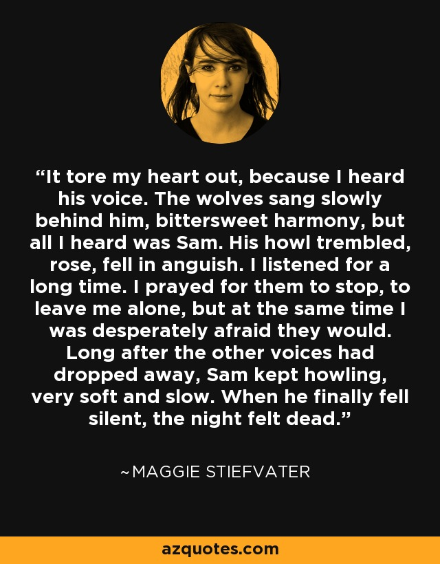 It tore my heart out, because I heard his voice. The wolves sang slowly behind him, bittersweet harmony, but all I heard was Sam. His howl trembled, rose, fell in anguish. I listened for a long time. I prayed for them to stop, to leave me alone, but at the same time I was desperately afraid they would. Long after the other voices had dropped away, Sam kept howling, very soft and slow. When he finally fell silent, the night felt dead. - Maggie Stiefvater