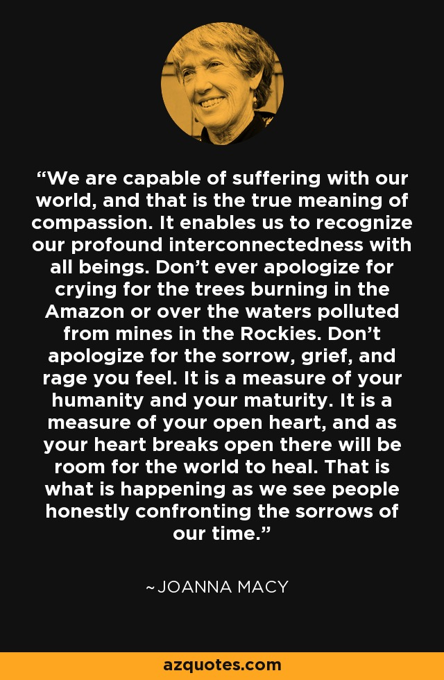 We are capable of suffering with our world, and that is the true meaning of compassion. It enables us to recognize our profound interconnectedness with all beings. Don't ever apologize for crying for the trees burning in the Amazon or over the waters polluted from mines in the Rockies. Don't apologize for the sorrow, grief, and rage you feel. It is a measure of your humanity and your maturity. It is a measure of your open heart, and as your heart breaks open there will be room for the world to heal. That is what is happening as we see people honestly confronting the sorrows of our time. - Joanna Macy