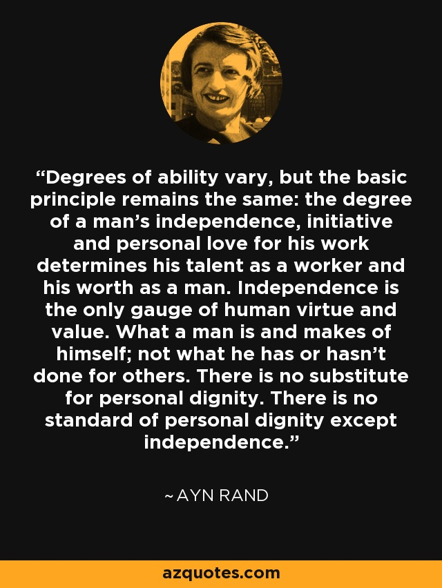 Degrees of ability vary, but the basic principle remains the same: the degree of a man's independence, initiative and personal love for his work determines his talent as a worker and his worth as a man. Independence is the only gauge of human virtue and value. What a man is and makes of himself; not what he has or hasn't done for others. There is no substitute for personal dignity. There is no standard of personal dignity except independence. - Ayn Rand