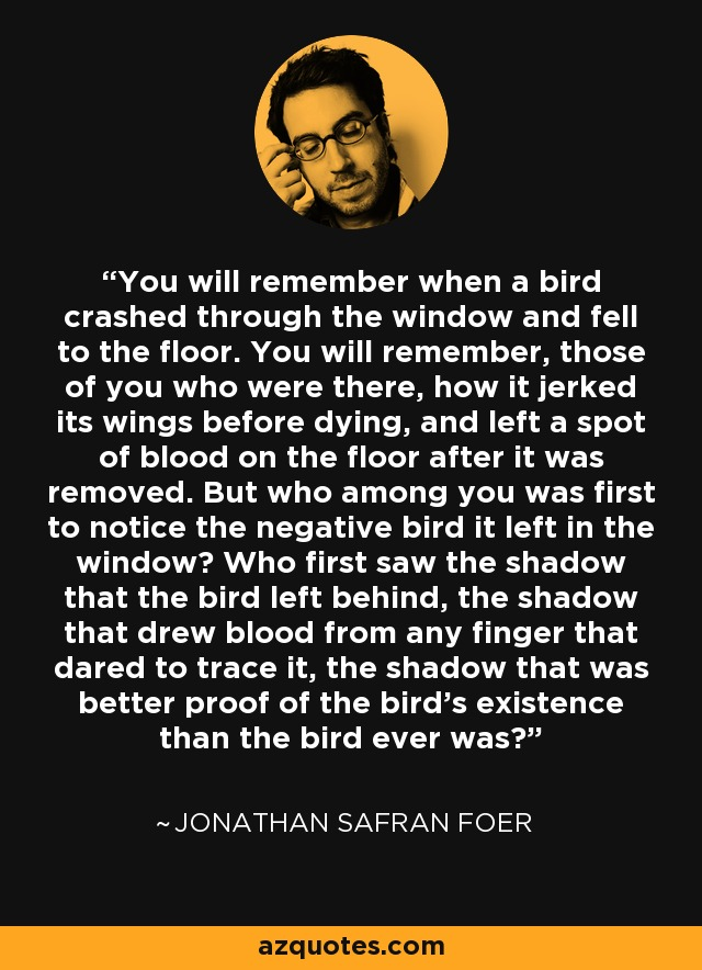 You will remember when a bird crashed through the window and fell to the floor. You will remember, those of you who were there, how it jerked its wings before dying, and left a spot of blood on the floor after it was removed. But who among you was first to notice the negative bird it left in the window? Who first saw the shadow that the bird left behind, the shadow that drew blood from any finger that dared to trace it, the shadow that was better proof of the bird's existence than the bird ever was? - Jonathan Safran Foer