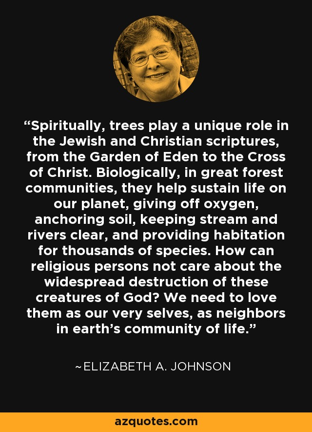 Spiritually, trees play a unique role in the Jewish and Christian scriptures, from the Garden of Eden to the Cross of Christ. Biologically, in great forest communities, they help sustain life on our planet, giving off oxygen, anchoring soil, keeping stream and rivers clear, and providing habitation for thousands of species. How can religious persons not care about the widespread destruction of these creatures of God? We need to love them as our very selves, as neighbors in earth's community of life. - Elizabeth A. Johnson