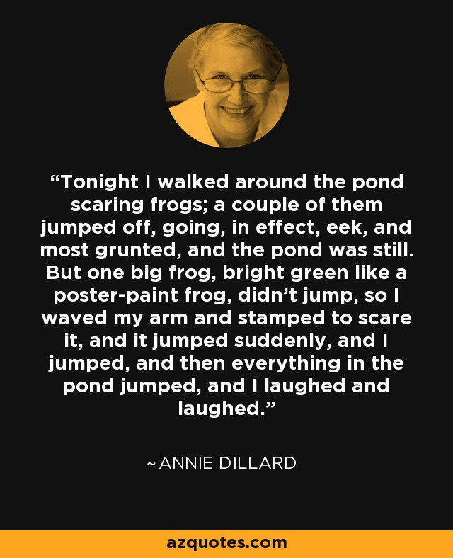 Tonight I walked around the pond scaring frogs; a couple of them jumped off, going, in effect, eek, and most grunted, and the pond was still. But one big frog, bright green like a poster-paint frog, didn't jump, so I waved my arm and stamped to scare it, and it jumped suddenly, and I jumped, and then everything in the pond jumped, and I laughed and laughed. - Annie Dillard