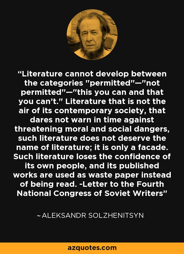 Literature cannot develop between the categories