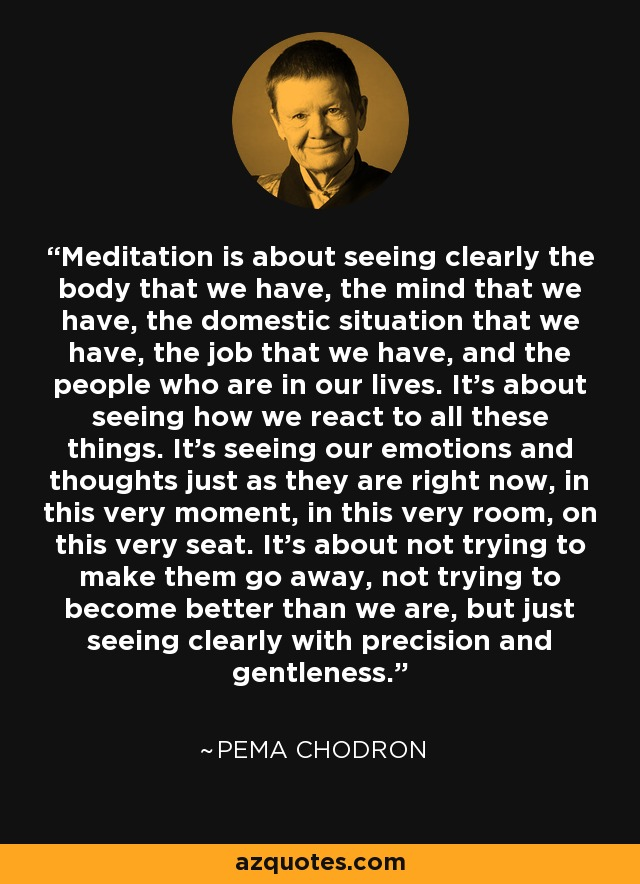 Meditation is about seeing clearly the body that we have, the mind that we have, the domestic situation that we have, the job that we have, and the people who are in our lives. It's about seeing how we react to all these things. It's seeing our emotions and thoughts just as they are right now, in this very moment, in this very room, on this very seat. It's about not trying to make them go away, not trying to become better than we are, but just seeing clearly with precision and gentleness. - Pema Chodron