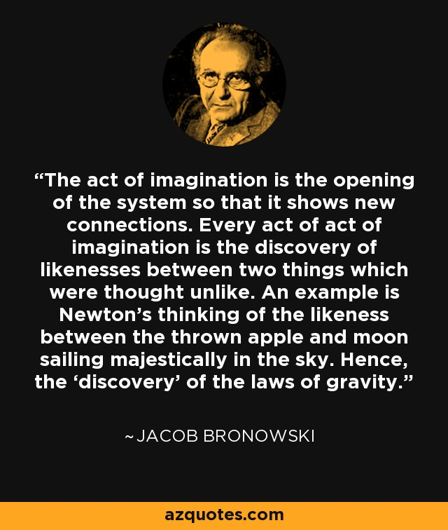 The act of imagination is the opening of the system so that it shows new connections. Every act of act of imagination is the discovery of likenesses between two things which were thought unlike. An example is Newton's thinking of the likeness between the thrown apple and moon sailing majestically in the sky. Hence, the 'discovery' of the laws of gravity. - Jacob Bronowski