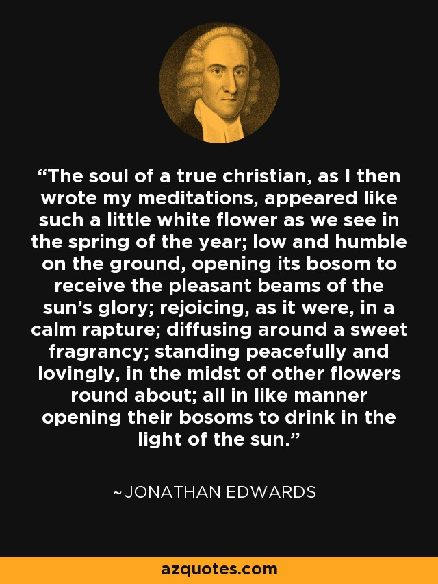The soul of a true christian, as I then wrote my meditations, appeared like such a little white flower as we see in the spring of the year; low and humble on the ground, opening its bosom to receive the pleasant beams of the sun's glory; rejoicing, as it were, in a calm rapture; diffusing around a sweet fragrancy; standing peacefully and lovingly, in the midst of other flowers round about; all in like manner opening their bosoms to drink in the light of the sun. - Jonathan Edwards